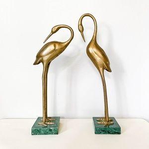 Two Brass Standing Bird Vintage Figurines